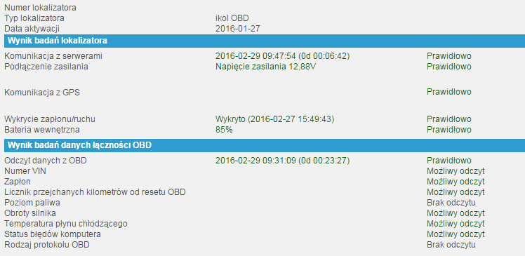 Kontrola lokalizatora w systemie ikol Online