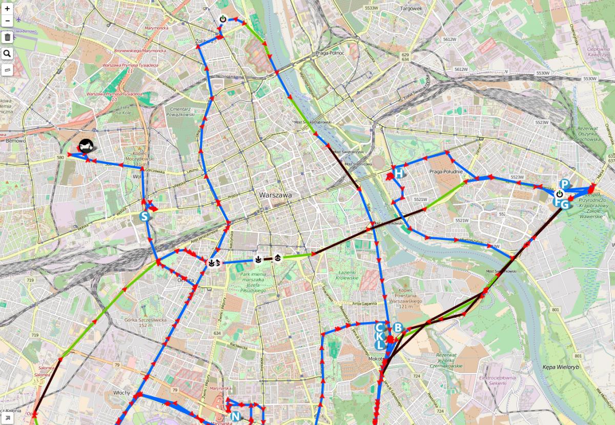 Trasa podróży motocykla - lokalizator GPS ikol MOTO
