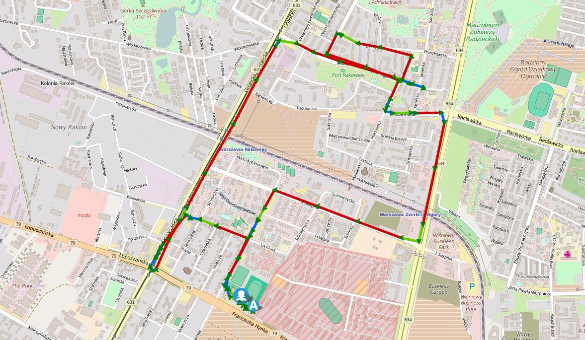 Trasa egzaminu na prawo jazdy - Warszawa Radarowa Okęcie