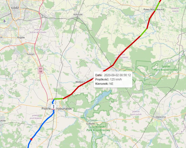 raport predkosci IKOL z mapa